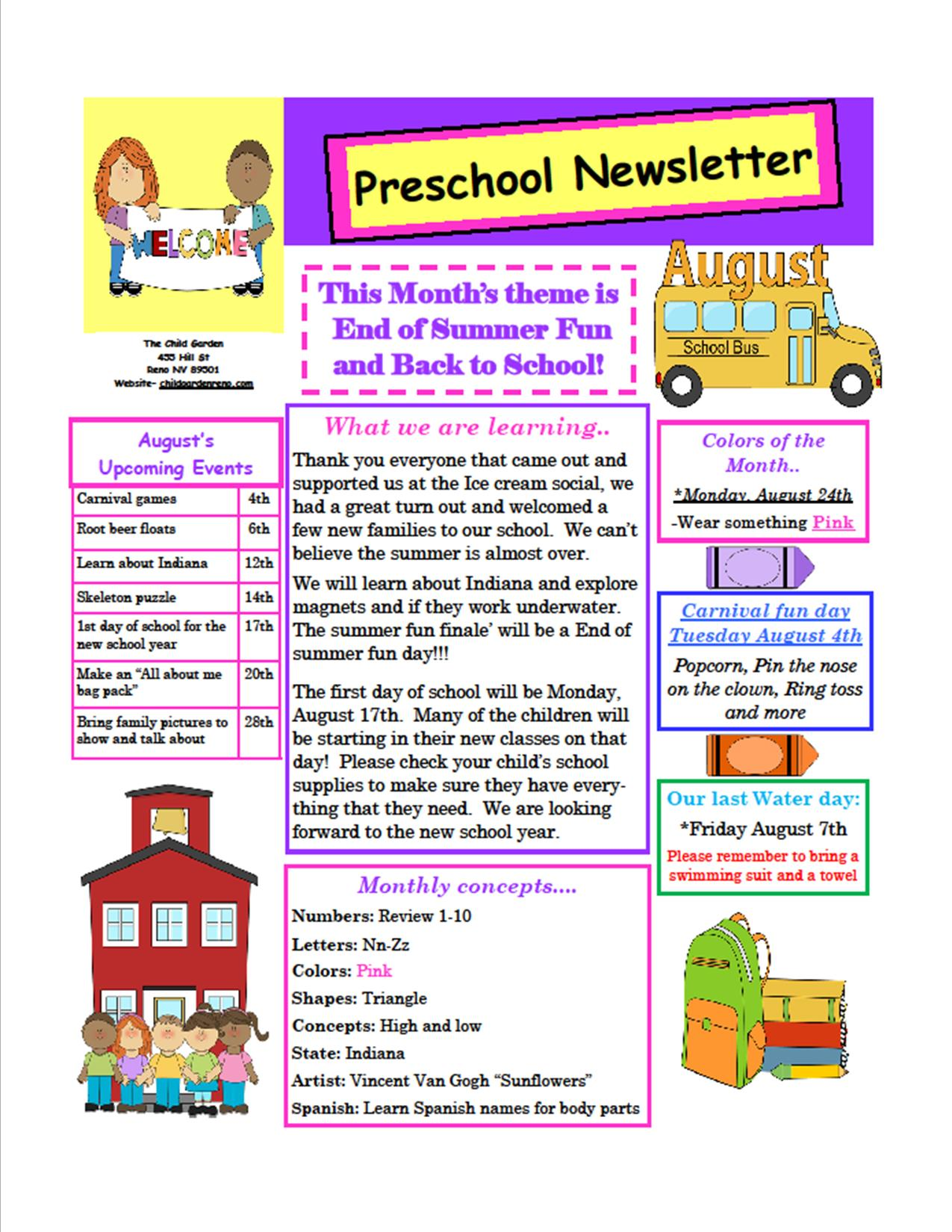 The child garden preschool for Childcare newsletter templates